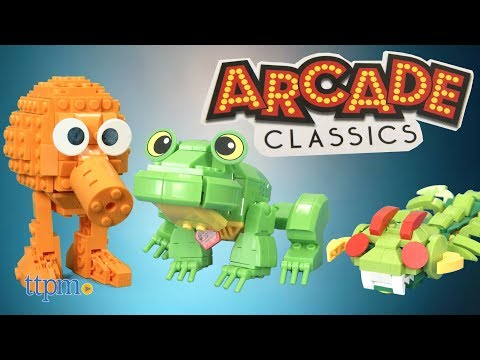 Arcade Classics Frogger, Centipede, and Q-Bert Buildable Figures from The Bridge Direct