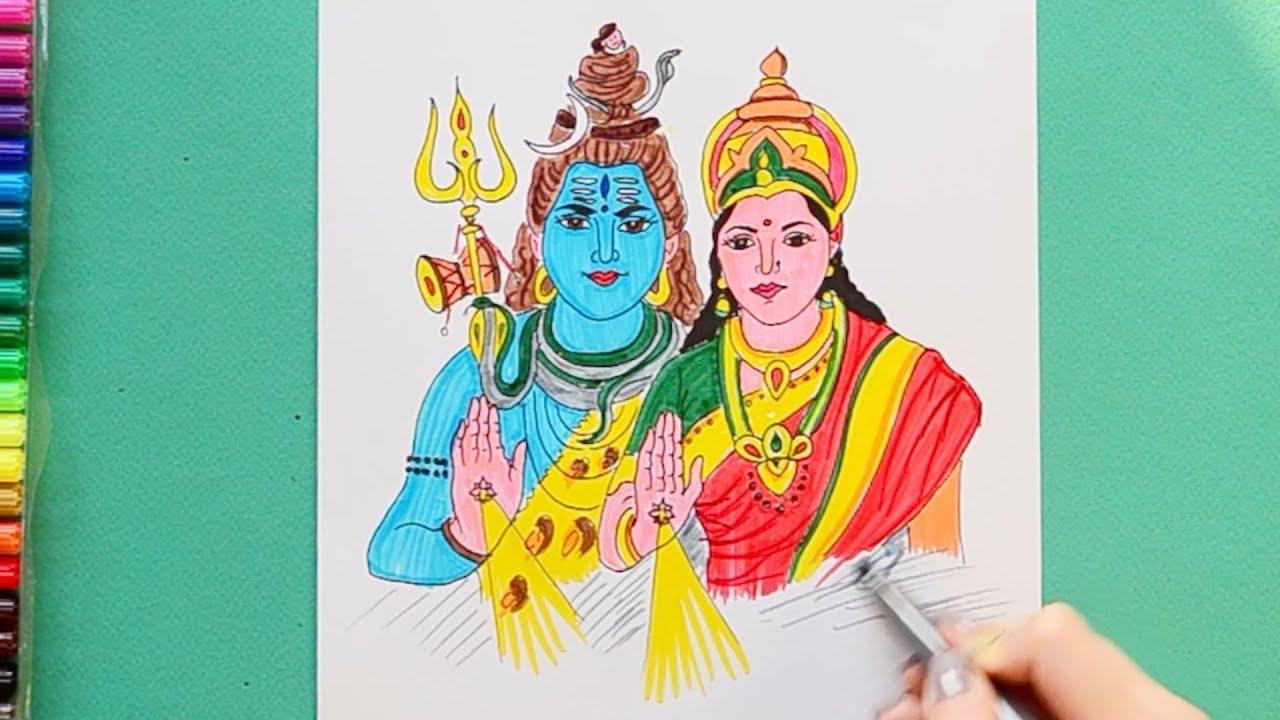 How To Draw Shiv Parvati Maha Shivaratri Youtube