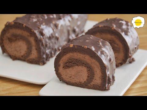 Flourless Chocolate Hazelnut RollCake Gluten free 无面粉巧克力榛子蛋糕卷无麸 Gâteau roulé au chocolat sans farine