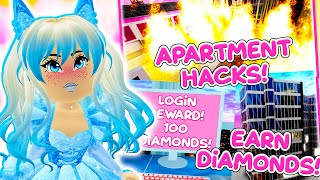 EASIEST Ways to Earn DIAMONDS and More APARTMENT HACKS in Roblox Royale High School!