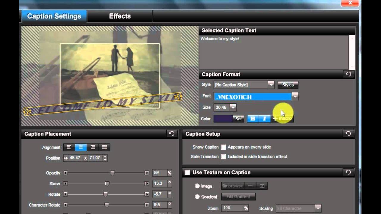 Hướng dẫn chèn chữ vào slide trong Producer Proshow 5.0