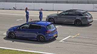 480HP Volkswagen Golf 7 R Stage 2 vs 700HP Audi RS6 Avant C7 with Akrapovic Exhaust