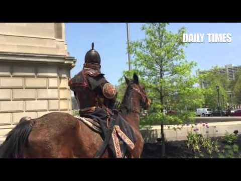 Genghis Khan rides down street near #franklininstitute taking over?