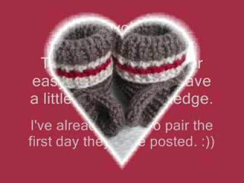 Free Crochet Pattern Sock Monkey Slippers : Sock Monkey Booties - Knitting Pattern Presentation - YouTube