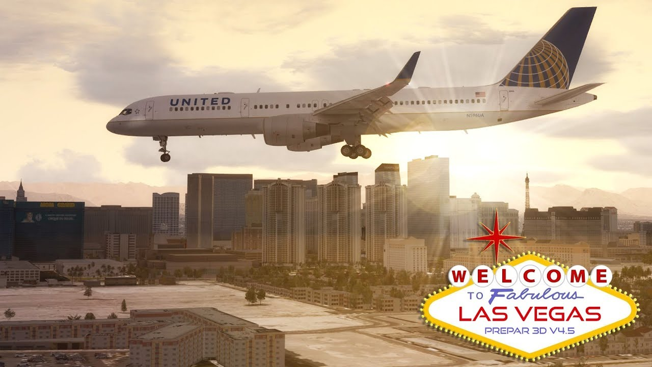 [P3DV4 5] United Airlines | Boeing 757-200 | Approach to Las Vegas KLAS