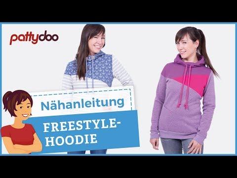 Freestyle Hoodie – Kapuzenpullover mit Teilung/Patchwork aus Sweat nähen