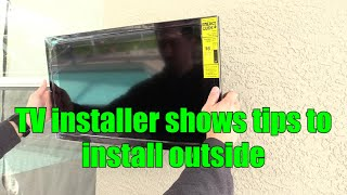 How to install a TV on Stucco Concrete Block Wall Outside Patio