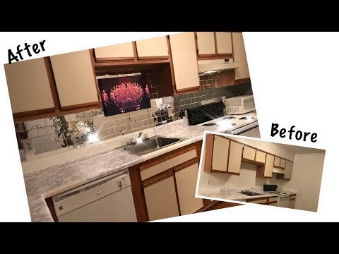 diy faux mirror tile backsplash kitchen makeover ft banggoods com rh youtube com Self-Stick Backsplash Wall Tiles Mirror Backsplash for Kitchens