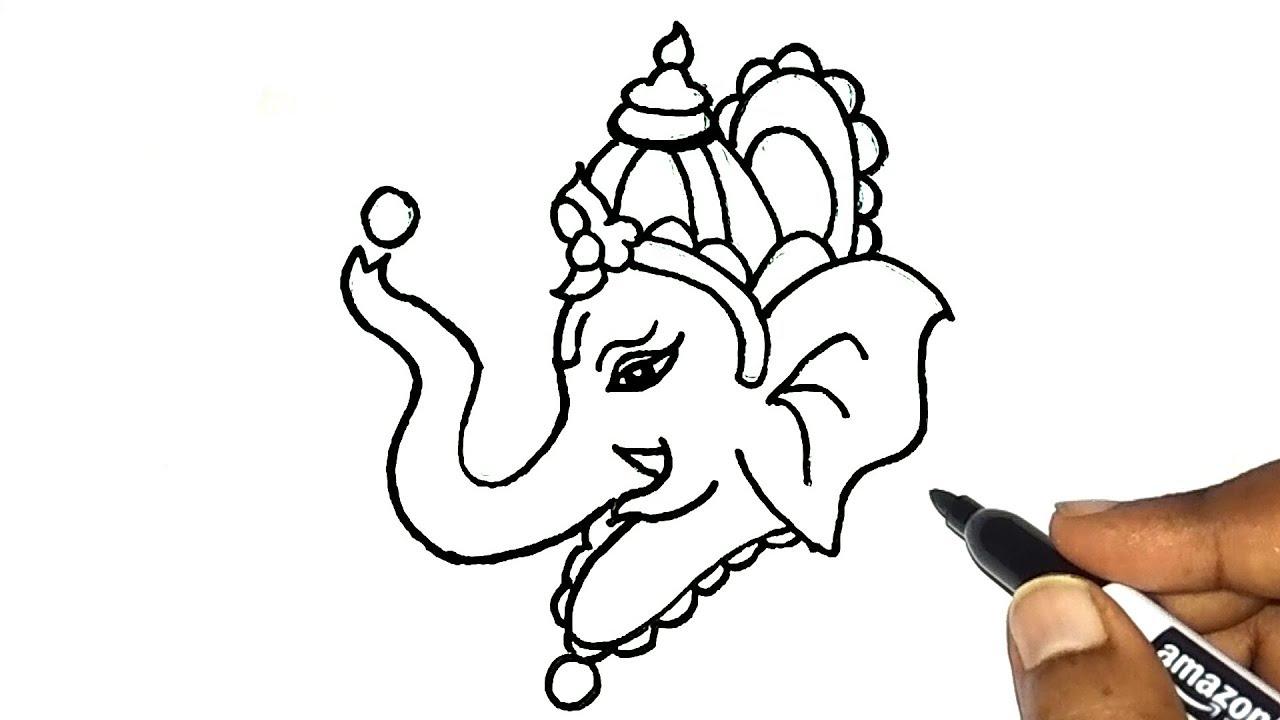 How To Draw Ganesha Easy Ganpati Bappa Moriya Easy Drawing Ganesh Chaturthi Special Youtube