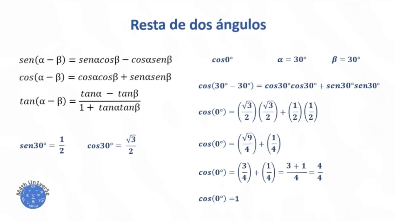 Razones Trigonométricas De La Suma Resta Doble Y Mitad Del ángulo Youtube
