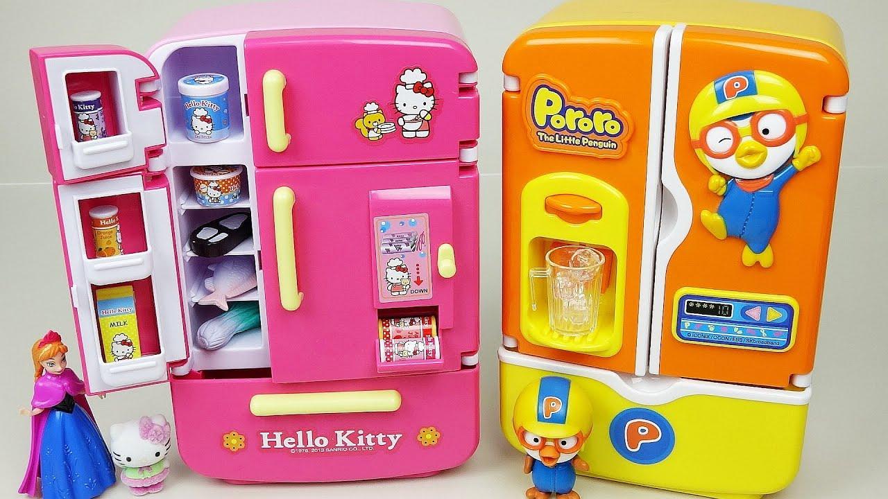 Toy Hello Kitty Watch : Hello kitty pororo refrigerator toys youtube