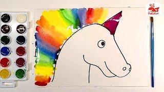 Акварельный ЕДИНОРОГ с радугой : урок рисования
