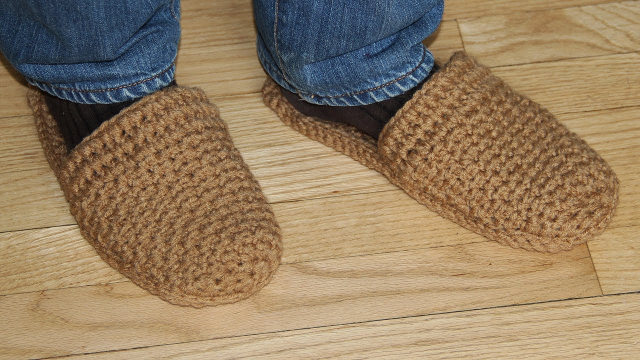 How To Crochet Mens Slippers Video Tutorial For Beginners Youtube