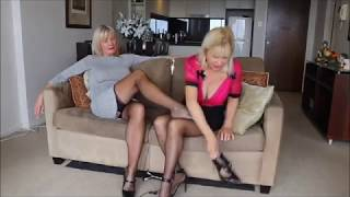 UPSKIRT two milf in stockings and high heels ! [SEXY]
