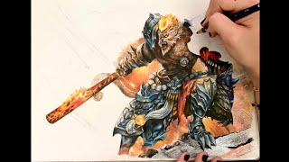 League of Legends- General Wukong Timelapse Drawing