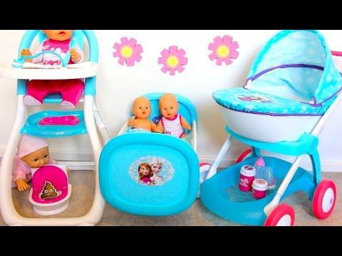 Baby Doll Nursery Set-Disney Frozen Rocking Bed Highchair Dolls Pram Baby Annabell PlayToys