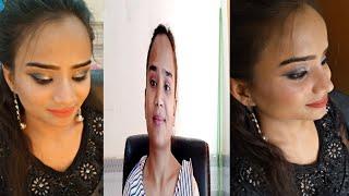 Black 🖤 Gown Makeup look # Night😍 Party time # Eid look Smokey Eyes Nude💄lips# Sona Makeup Tutorial