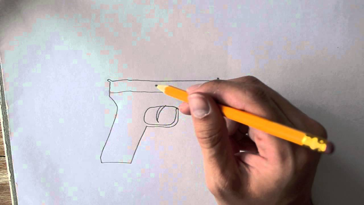 How To Draw A Pistol Youtube