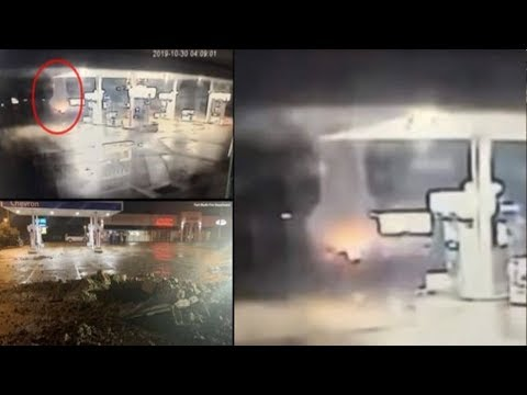 CCTV at Fort Worth Chevron captures lightning strike leaving 15 foot hole in parking lot