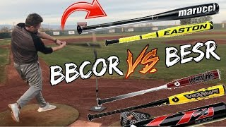 450FT DINGER HITS A HOUSE!? ILLEGAL BAT VS LEGAL BAT HOMERUN DERBY! (INSANE POWER)