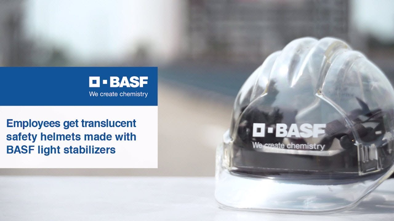 Employees get translucent safety helmets made with BASF light stabilizers