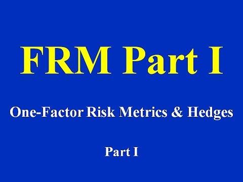 FRM Part I : One-Factor Risk Metrics & Hedges Part I  (of 2)