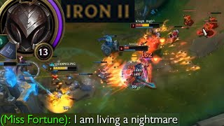 League of Legends but I literally got placed in Iron II in ranked