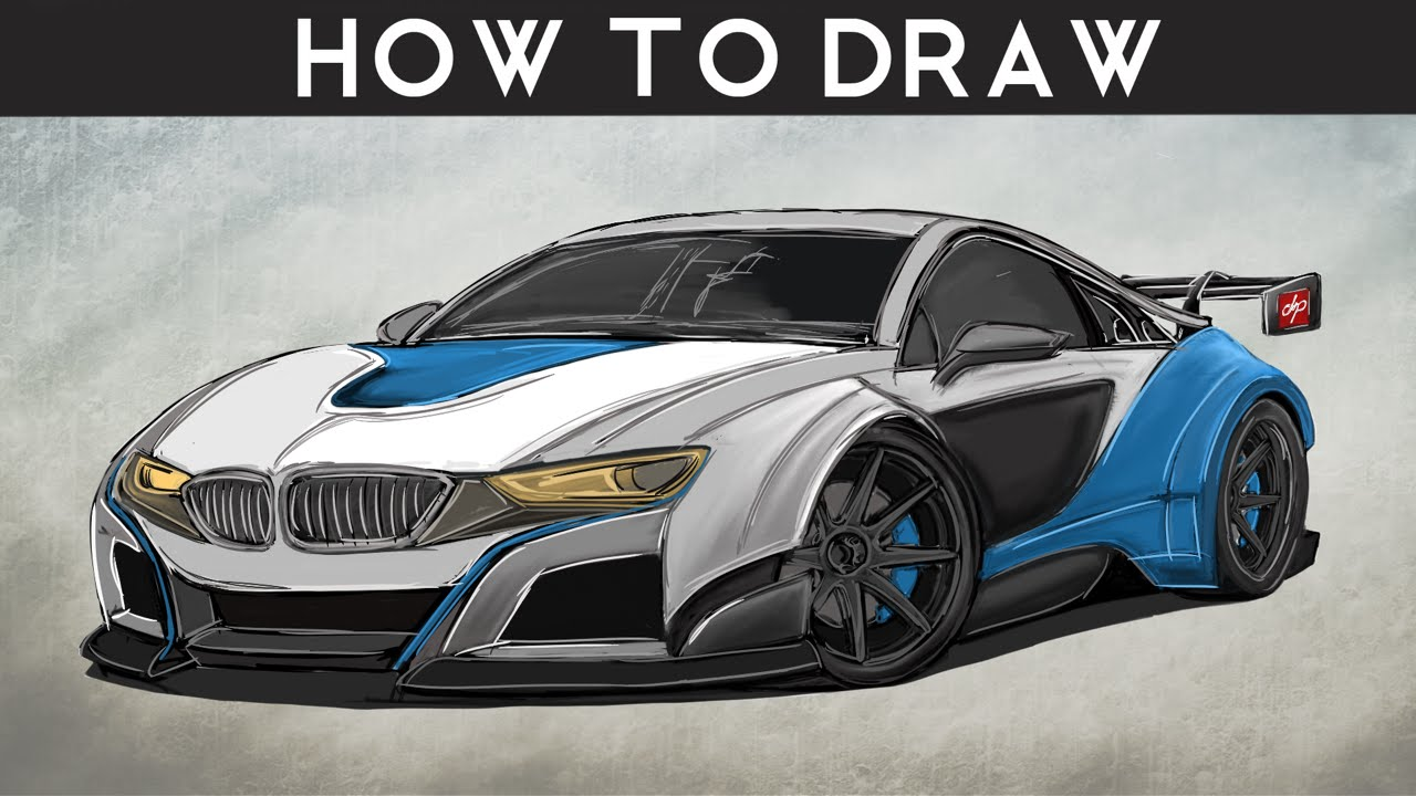 How To Draw A Bmw I8 Gt3  Step By Step  Drawingpat  Youtube