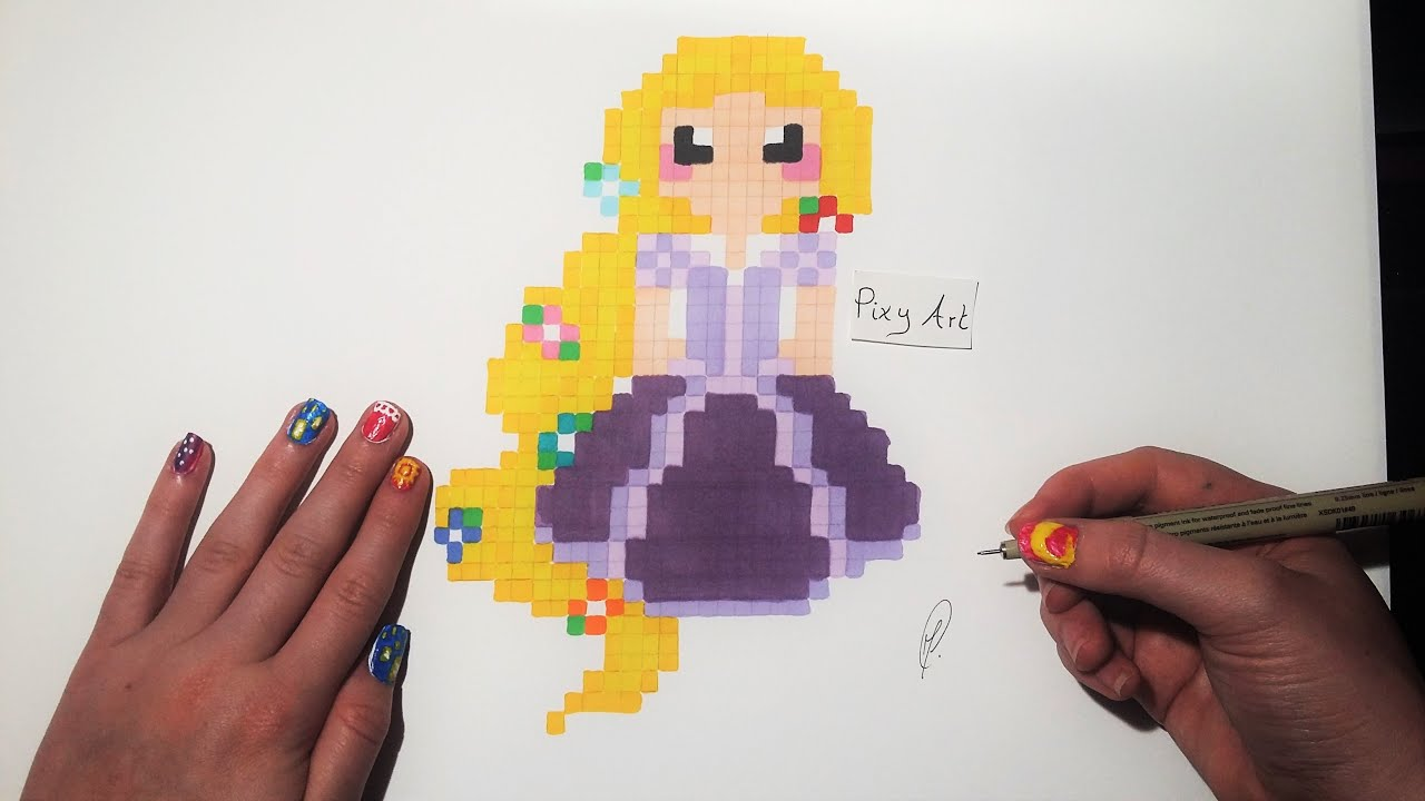 Tangled Drawing Easy Pixel Art Youtube