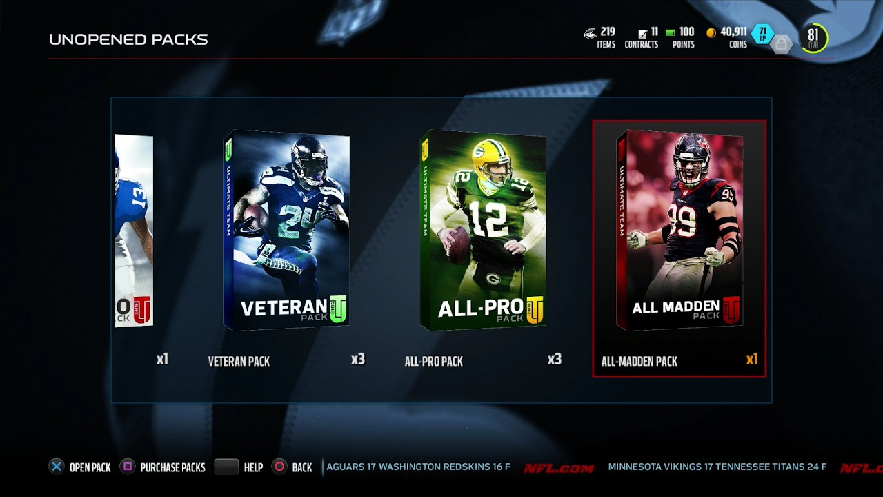 mut 16 pro veteran all pro all madden pack opening free
