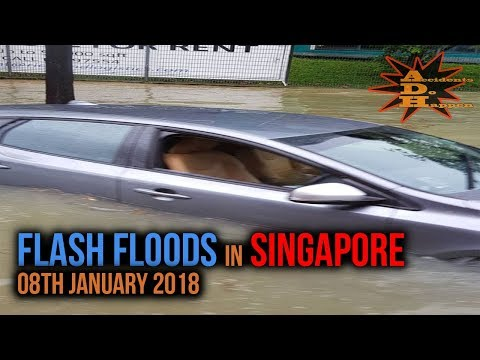 Flash Floods in Singapore on 08th January 2018