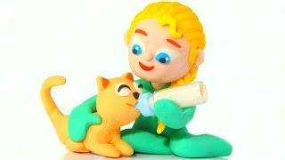 BABY ELSA TAKES CARE OF THE KITTEN ❤ Spiderman, Hulk & Frozen Elsa Play Doh Cartoons For Kids