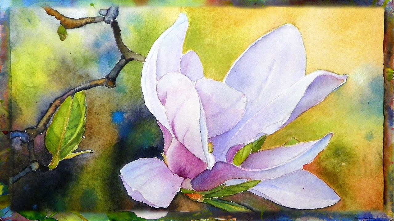 How To Paint The Magnolia Flower Watercolor Painting Part 1 Youtube