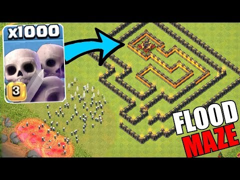 "SKELETON FLOOD MAZE!! ""Clash Of Clans"" TROLL XBOW BASE!!"