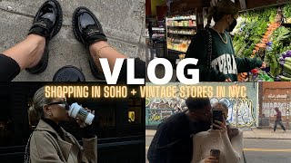 VLOG | GRWM, brunch + shopping with friends in SoHo, vintage stores in NYC + more!