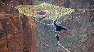 Daredevils Relax In Handmade Net 400ft Above Desert Floor