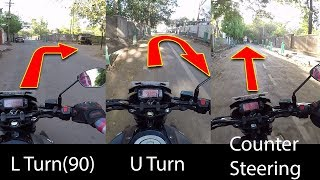 How To Turn A Motorcycle Properly | U-Turn | L Turn(90) |  Counter Steering[Hindi]