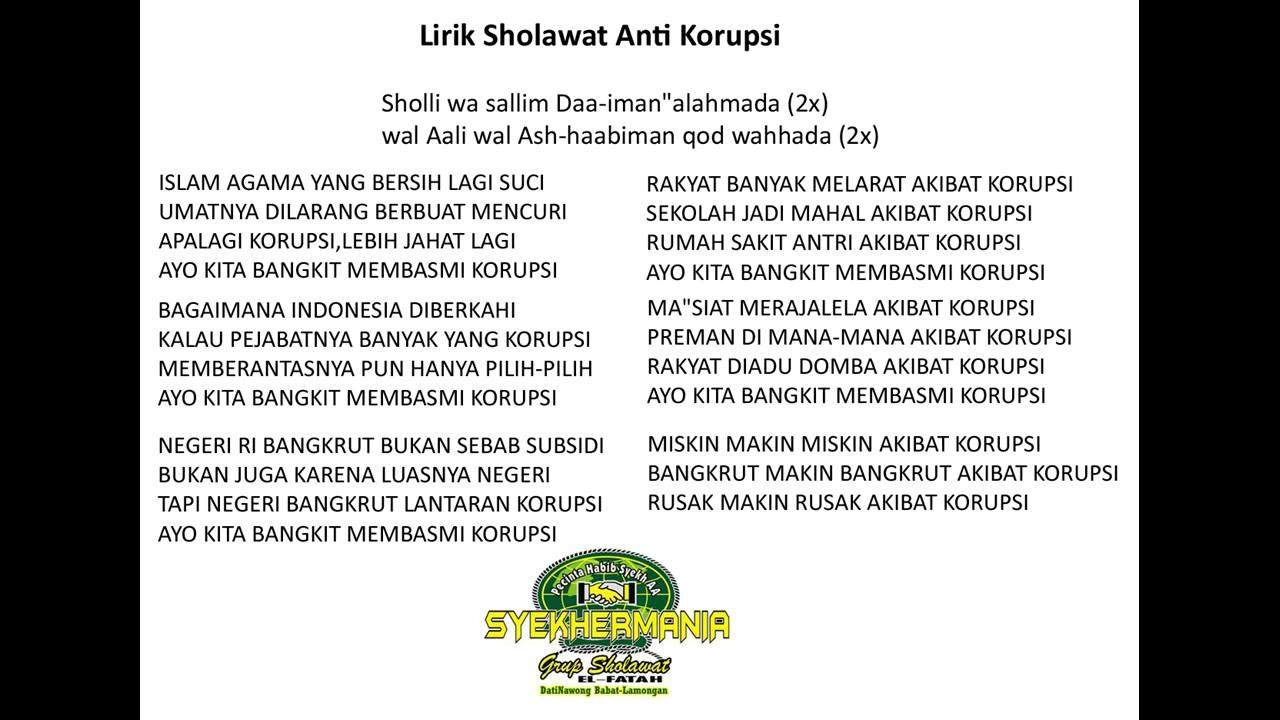 Lirik Sholawat Anti Korupsi Youtube