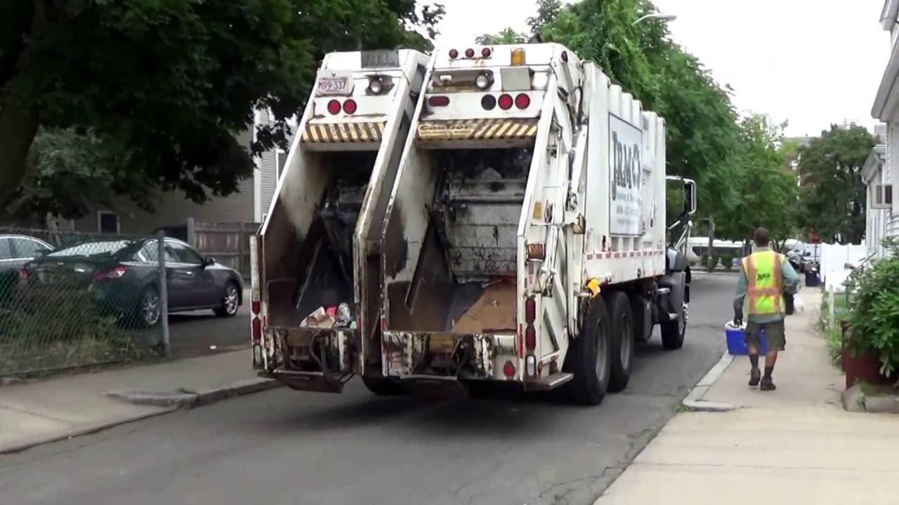 Jrm hauling recycling 309 mack gu813 granite heil formula 40 60 split rear loader on dual stream youtube
