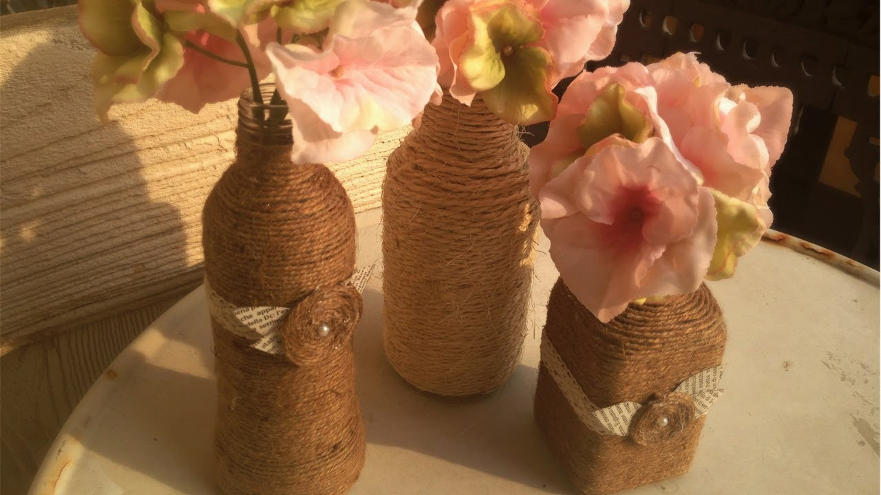 Decoration of bottles with twine 23