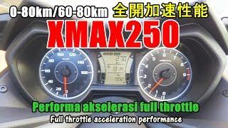 【実録~Yamaha XMAX250 全開加速性能 0-80km/60-80km】Akselerasi full throttle/เร่งความเร็วคันเร่ง
