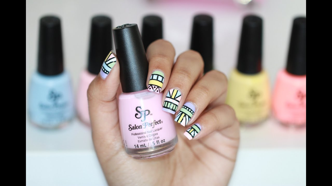 Pastel Tribal Nail Art - YouTube