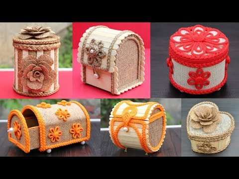 6 Beautiful jewelry box with Jute, Popsicle Sticks and Cardboard | DIY Jewelry Box Design Craft Idea