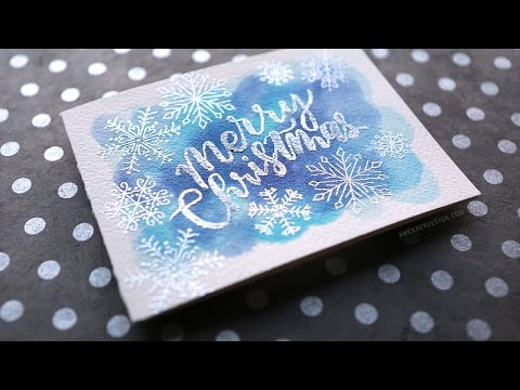 Heat Embossed Brush Lettering Over Watercoloring