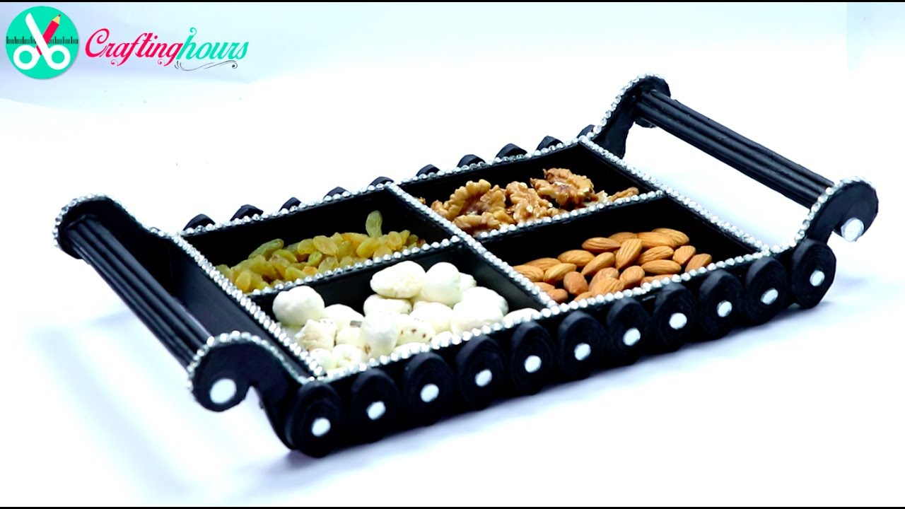 How to make dry fruit tray platter with cardboard and for Best out of waste ideas for class 5 easy