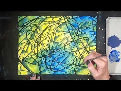 Psychedelic Abstract Painting with Acrylic Paint on Canvas / Easy Acrylic Painting Tutorial thumbnail