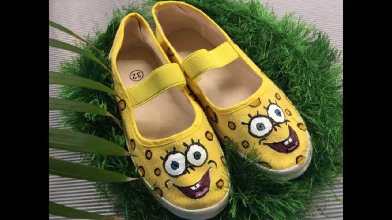 cef28cc1 Кеды Губка Боб, декор обуви, роспись обуви мастер класс - YouTube