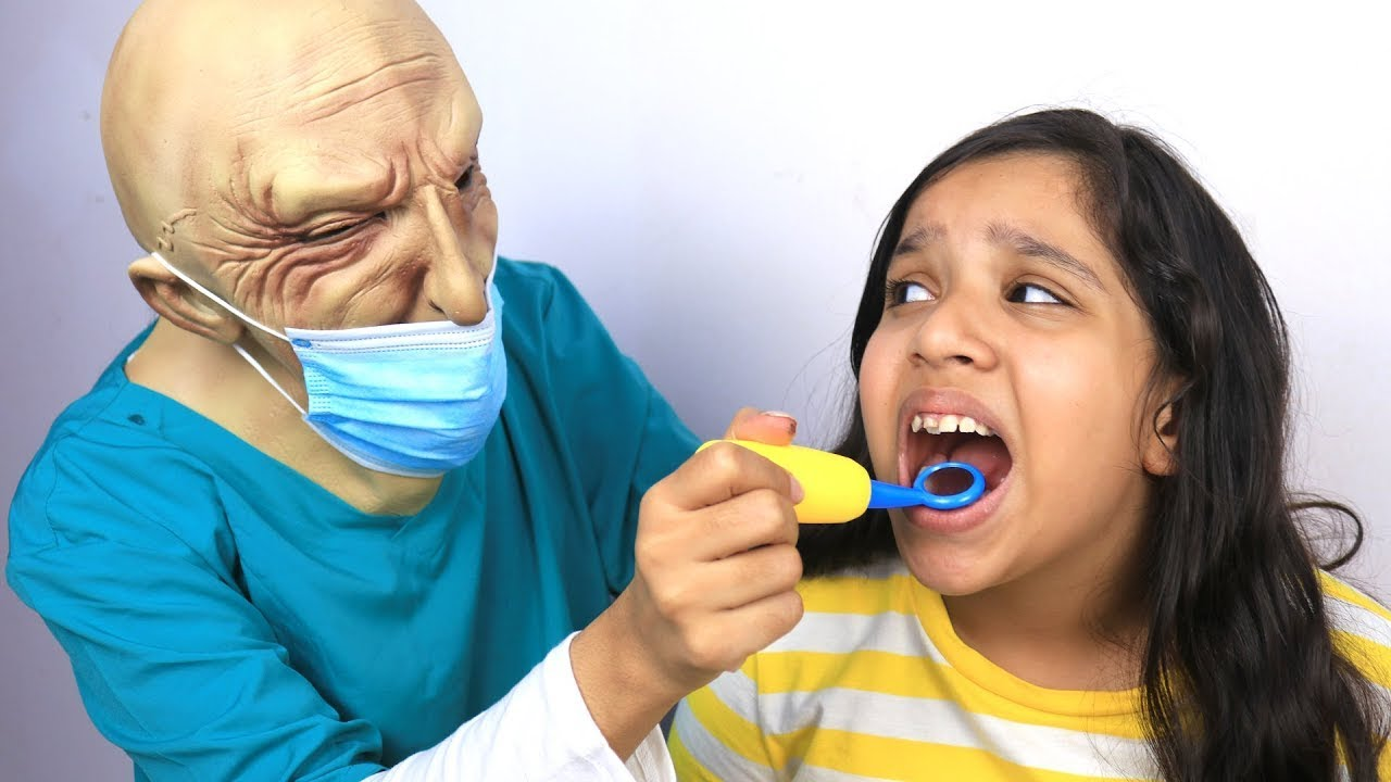 شفا راحت عند دكتور الأسنان Shfa show  important of brush teeth