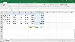 Sum the Hours over 24 Hours - Excel Trick