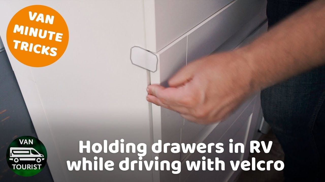 Holding drawers in RV while driving with velcro  Cheap and simple way to  keep drawers closed